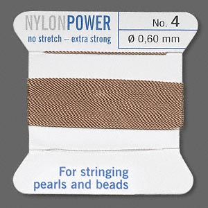 thread, nylon, beige, size #4. sold per 2-yard card.