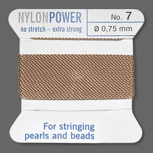 thread, nylon, beige, size #7. sold per 2-yard card.