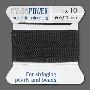 thread, nylon, black, size #10. sold per 2-yard card.