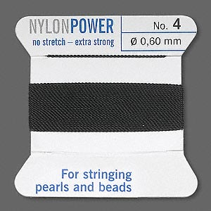 thread, nylon, black, size #4. sold per 2-yard card.
