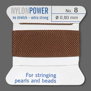 thread, nylon, brown, size #8. sold per 2-yard card.
