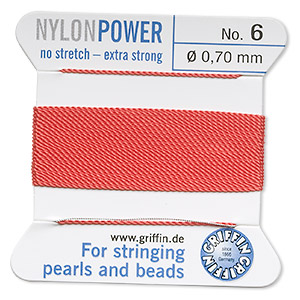 thread, nylon, coral, size #6. sold per 2-yard card.