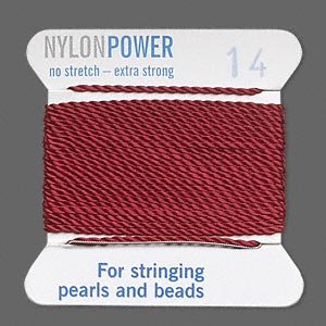 thread, nylon, garnet red, size #14. sold per 2-yard card.