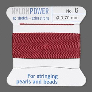 thread, nylon, garnet red, size #6. sold per 2-yard card.