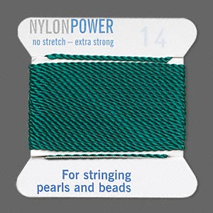 thread, nylon, green, size #14. sold per 2-yard card.