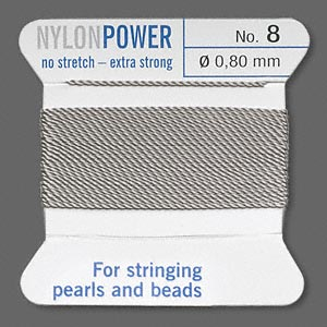 thread, nylon, grey, size #8. sold per 2-yard card.