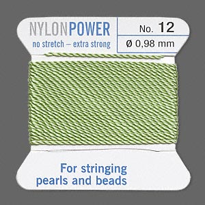thread, nylon, jade green, size #12. sold per 2-yard card.