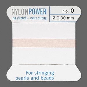 thread, nylon, light pink, size #0. sold per 2-yard card.