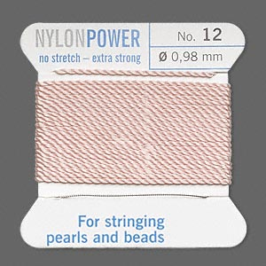 thread, nylon, light pink, size #12. sold per 2-yard card.