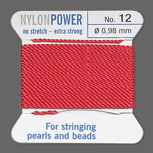 thread, nylon, red, size #12. sold per 2-yard card.