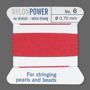 thread, nylon, red, size #6. sold per 2-yard card.