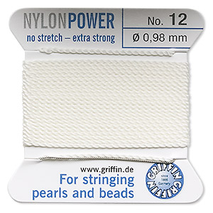 thread, nylon, white, size #12. sold per 2-yard card.