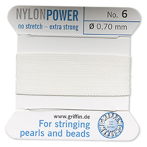 thread, nylon, white, size #6. sold per 2-yard card.