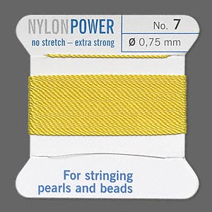 thread, nylon, yellow, size #7. sold per 2-yard card.