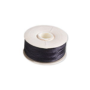 thread, nymo, nylon, black, size d. sold per pkg of (2) 64-yard bobbins.