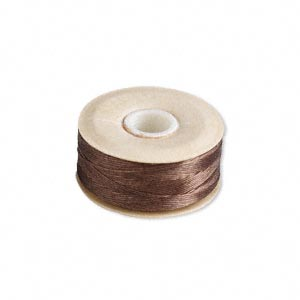 thread, nymo, nylon, brown, size b. sold per pkg of (2) 72-yard bobbins.