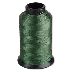 thread, nymo, nylon, green, size b. sold per 3-ounce spool.