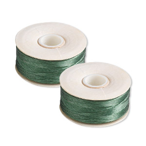 thread, nymo, nylon, green, size b. sold per pkg of (2) 72-yard bobbins.