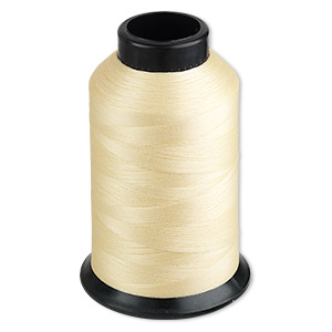 thread, nymo, nylon, light tan, size b. sold per 3-ounce spool.