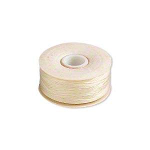 thread, nymo, nylon, light tan, size d. sold per pkg of (2) 64-yard bobbins.