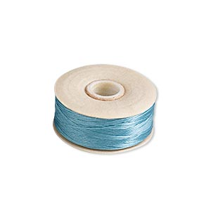 thread, nymo, nylon, turquoise blue, size o. sold per pkg of (2) 90-yard bobbins.