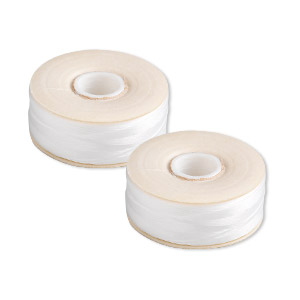thread, nymo, nylon, white, size o. sold per pkg of (2) 90-yard bobbins.