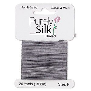 thread, purely silk™, 3-ply, dark grey, size f. sold per 20-yard card.