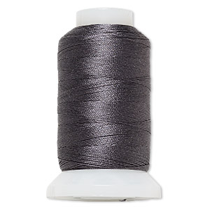thread, purely silk™, dark grey, size d. sold per 260-yard spool.