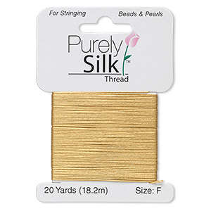 thread, purely silk™, gold, size f. sold per 20-yard card.