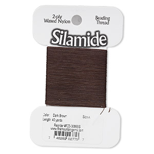 thread, silamide, 2-ply waxed nylon, dark brown, size a, 4-pound test. sold per 40-yard card.