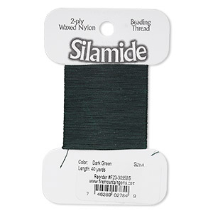 thread, silamide, 2-ply waxed nylon, dark green, size a, 4-pound test. sold per 40-yard card.