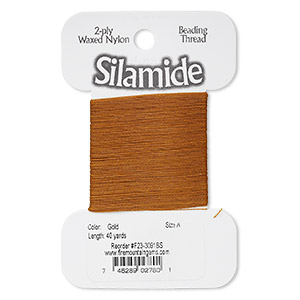 thread, silamide, 2-ply waxed nylon, gold, size a, 4-pound test. sold per 40-yard card.
