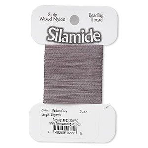 thread, silamide, 2-ply waxed nylon, medium grey, size a, 4-pound test. sold per 40-yard card.