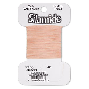 thread, silamide, 2-ply waxed nylon, peach, size a, 4.4-pound test. sold per 40-yard card.