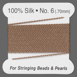 thread, silk, beige, size #6. sold per 2-meter card.