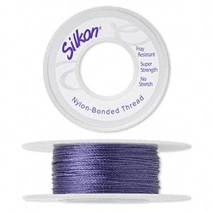 thread, silkon, bonded nylon, heavyweight #3, purple. sold per 20-yard spool.