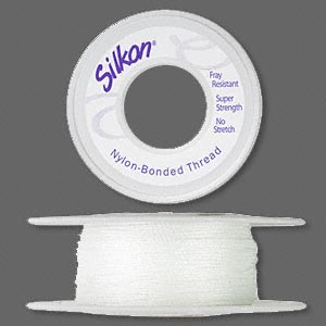 thread, silkon, bonded nylon, heavyweight #3, white. sold per 20-yard spool.