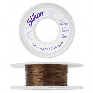 thread, silkon, bonded nylon, lightweight #1, dark brown. sold per 20-yard spool.