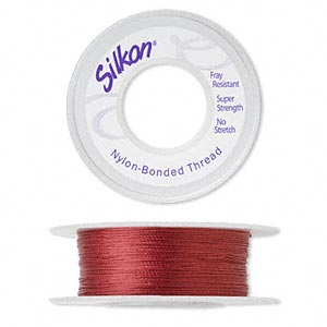 thread, silkon, bonded nylon, lightweight #1, red. sold per 100-yard spool.