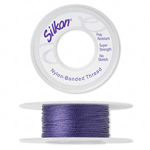 thread, silkon, bonded nylon, medium-weight #2, purple. sold per 20-yard spool.