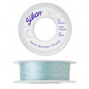 thread, silkon, bonded nylon, medium-weight #2, turquoise blue. sold per 100-yard spool.