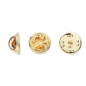 tie tac clutch, gold-plated brass, 11.5x6.5mm squeeze style. sold per pkg of 100.