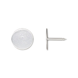 tie tac, silver-plated brass, 12mm flat round pad. sold per pkg of 10.