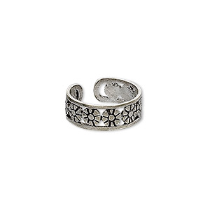 toe ring, antiqued sterling silver, 5mm wide with flower design, adjustable. sold individually.