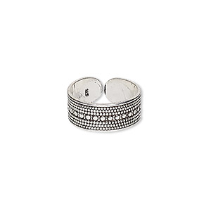 toe ring, antiqued sterling silver, 6.5mm wide with beaded pattern, adjustable. sold individually.