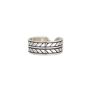 toe ring, antiqued sterling silver, 6.5mm wide with chevron pattern, adjustable. sold individually.