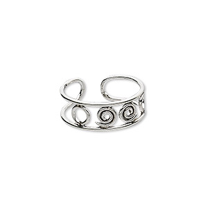 toe ring, antiqued sterling silver, 6mm wide with wire circle design, adjustable. sold individually.