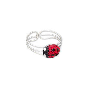 toe ring, epoxy / glass rhinestone / silver-plated brass, red / black / clear, 7mm wide with 9x7mm ladybug, adjustable. sold individually.