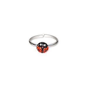 toe ring, epoxy / glass rhinestone / sterling silver, black / red / clear, 6x6mm ladybug, adjustable. sold individually.