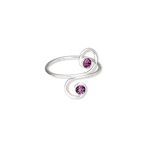 toe ring, glass rhinestone and sterling silver, amethyst purple, 16mm wide with double spiral, adjustable. sold individually.
